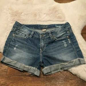 "Silver Toni 3 1/2"" Distressed Shorts"
